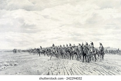 1805 NAPOLEON AT AUSTERLITZ, 1908 by Ernest Meissonier (1815-1891). A long line of French cavalry with artillery moving behind them at Austerlitz.