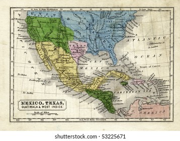 1845 Map of the Texas Republic, United States, Mexico and Central America