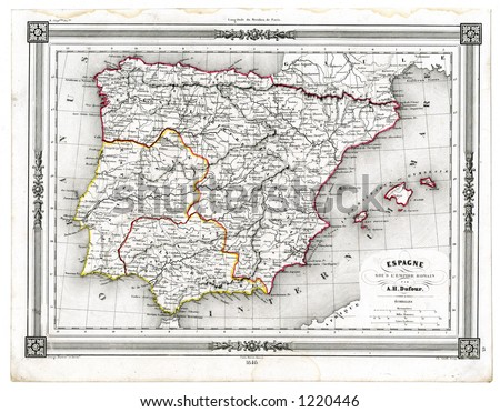 1846 Antique Map Ancient Spain Portugal Stock Illustration 1220446