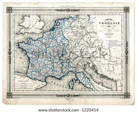 Map Of France In 1789.1846 Antique Map France 1789 Time Stock Illustration Royalty Free