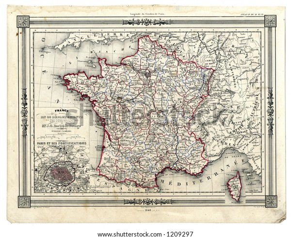 Map Of France Departments.1846 Antique Map France Departments Stock Illustration 1209297