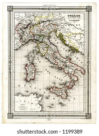 1846 Antique Map of Italy