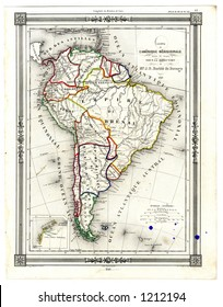 1846 Antique Map of South America
