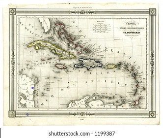 1846 Antique Map of West Indies and Caribbean