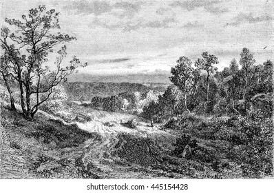 1852 Exhibition of Painting, Landscape, vintage engraved illustration. Magasin Pittoresque 1852.