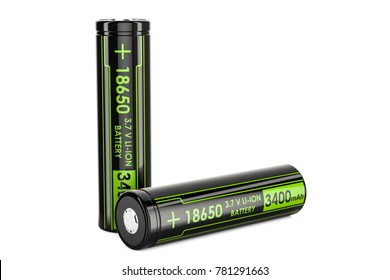 18650 Rechargeable Li-ion Batteries, 3D rendering isolated on white background