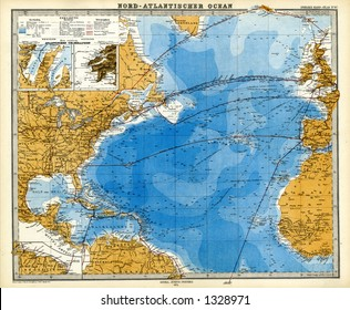 1872 Antique Map of North Atlantic Telegraph Lines Stieler