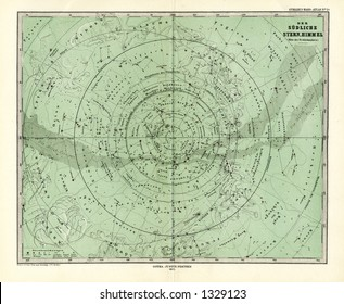 1872 Antique Stieler Map of South Sky Star Chart