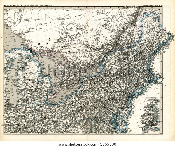 1875 Antique Stieler Map New England Stock Illustration 1365330