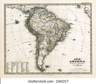 1875 Antique Stieler Map of South America