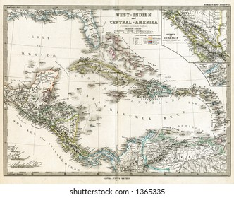 1875 Antique Stieler Map of West Indies