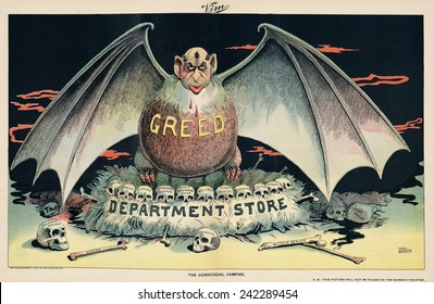 1898 cartoon attacking the emergence of large, sometimes Jewish owned, department stores whose scale and efficiencies drove many small shops out of business.