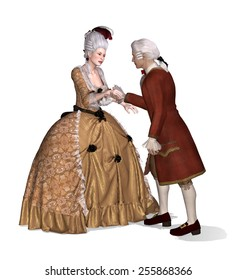 A 18th century gentleman greets a lady - 3d render with digital painting.