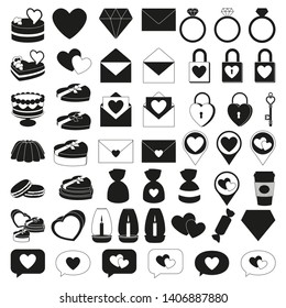 19 black and white valentine elements. Romantic date invitation decor. Love themed illustration for icon, stamp, label, certificate, brochure, gift card, poster or banner decoration