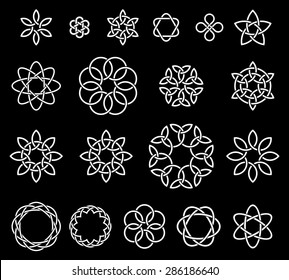 19 Flower-like knots collection, illustration for your design