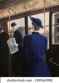 1900s vintage scene of a streetcar interior as a woman passenger in purple boards.