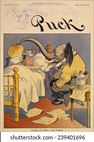 """1912 Cartoon """"Sitting up with a sick friend,"""" commenting on the Republican Party split, in which """"progressive"""" Theodore Roosevelt challenges incumbent Taft for the party's nomination."""