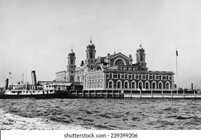 1919 photo of main building of Ellis Island immigration reception station in New York Harbor.