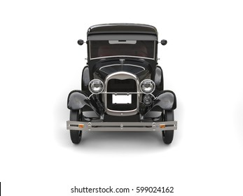 1920s cool black oldtimer car- front view - 3D Illustration