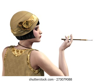 1920's flapper in profile with a cigarette holder - 3D render.