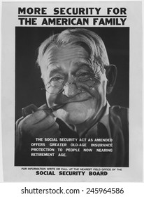1930s poster publicizing the benefits available to elderly Americans under the new Social Security programs.