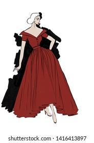 1940s inspired fashion illustration. 1940s elegant vintage red dress. Use of negative space with black background.