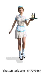 1950's style carhop girl on roller skates - 3d render.