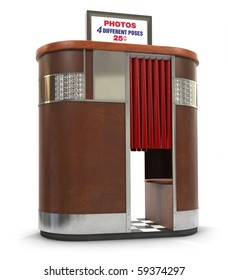 1950s style photo booth vending machine on a white background with clipping path