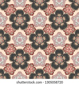 1950s-1960s motifs. Retro textile design collection. Silk scarf with blooming flowers in red, beige and gray colors. Autumn colors. Abstract seamless pattern with hand drawn floral elements.