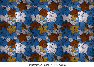 1950s-1960s motifs. Silk scarf with hibiscus flowers in blue and brown colors. Abstract seamless raster pattern with hand drawn floral elements. Retro textile design collection. Autumn colors.