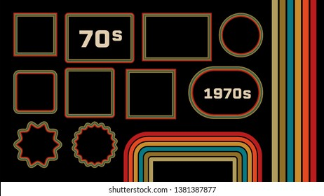 1970s Style Museum Picture Frames Set. Trendy 1970s, Old Fashioned Artistic Decorative Borders. Retro Background With Multicolored Lines, Geometric Shapes. 70s Flat Illustration With Copyspace