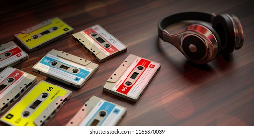 1970s-1980s party music. Vintage audio cassettes and dj headphones, wooden background. 3d illustration