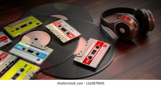 1970s-1980s party music. Vintage audio cassettes, vinyl records and dj headphones, wooden background. 3d illustration