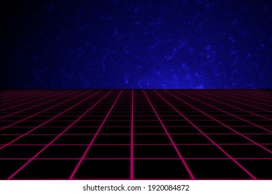 1980's vintage futuristic cyberspace environment template with neon perspective grid