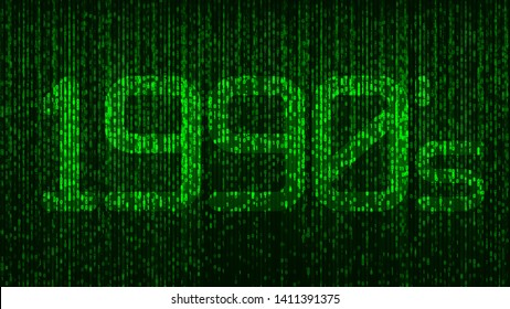 1990's nineties computer coding title logo with green glowing numbers and a code background