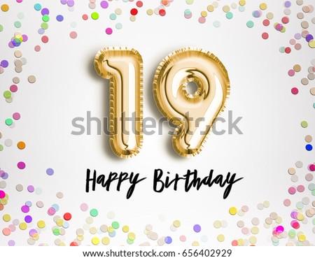 19th Birthday Celebration Gold Balloons Colorful Stockillustration