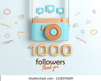 1k or 1000 followers thank you, Blue Retro Photo Camera and multicolor Figures. 3D Illustration for Social Network friends, followers, Web user Thank you celebrate of subscribers.