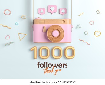1k or 1000 followers thank you, Pink Retro Photo Camera and multicolor Figures. 3D Illustration for Social Network friends, followers, Web user Thank you celebrate of subscribers.