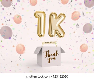 1k, 1000 followers thank you with gold balloons and colorful confetti. Illustration 3d render for social network friends, followers, web user Thank you celebrate of subscriber, followers, likes