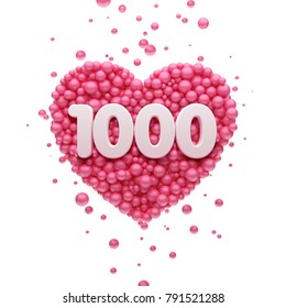 1k or 1000 followers thank you Pink heart and red balloons, ball. 3D Illustration for Social Network friends, followers, Web user Thank you celebrate of subscribers or followers and likes.