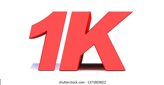 1k or 1000 thank you 3d word on white background. 3d illustration for Social Network friends or followers, likes