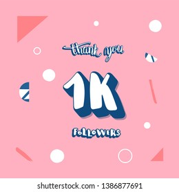 1k followers social media template. Banner for internet networks with creative handwritten lettering.  1000 subscribers thank you post illustration with geometric and abstract decoration.