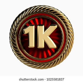 1K Golden Badge. One Thousand Followers web Icon. 3d Rendering isolated on white background.