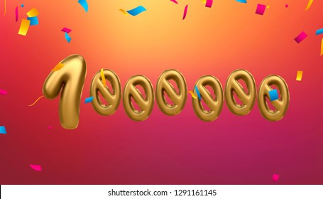 1m,  1 million celebration like or follower, subscribe with Gold balloons & confetti.