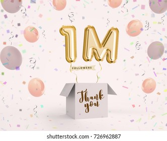 1m, 1 million celebration like or follower with Gold balloons & confetti. 3D illustration for Celebrate or Thank you followers, friends, web user, subscribers on Social Network reach 9000000 followers