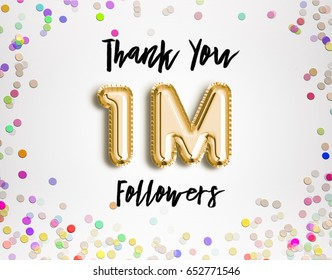 1M or 1 Million followers thank you Gold balloons and colorful confetti, glitters. 3D Illustration for Social Network friends, followers, Web user Thank you celebrate of subscribers, followers, likes.