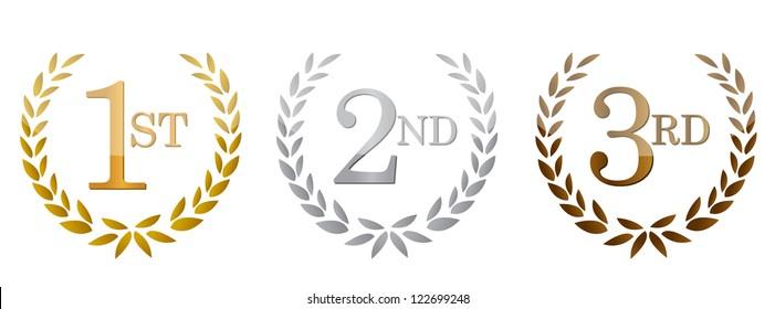 1st; 2nd; 3rd awards golden emblems. Illustration design.