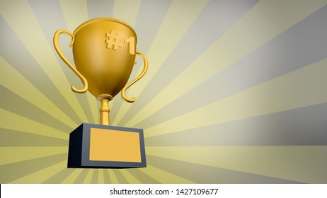 1st Place Winners gold trophy or cup design to be awarded for the winner. 3D Render illustration