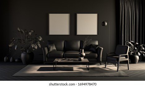 2 big square empty frames in a dark gloomy room in plain monochrome gray tones with sofa,chair,plant on a carpet. Black background. 3D rendering for poster frames.