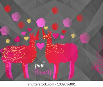2 cute red llamas-llamacorns  in love - standing face to face  with hearts and roses on dark background